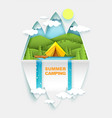 summer camping in paper art vector image vector image