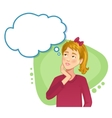 Thinking girl with speech bubble vector image