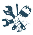 tool in hand vector image vector image