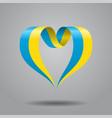 ukrainian flag heart-shaped ribbon vector image