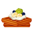 Waffle with cream and fruits vector image