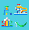 water aquapark playground with slides and splash vector image vector image