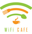 wi-fi cafe simple with cup of coffeespoon and fork vector image