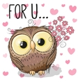 Owl with flowers vector image