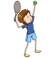 A simple sketch of a male tennis player vector image vector image