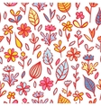 Abstract Flowers and Leaves Seamless Pattern vector image