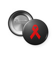 aids awareness red ribbon on the circle button vector image