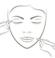 attractive lady getting facial care and tattoo vector image