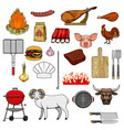 barbecue grill picnic burger sausage meat icons