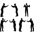 business man silhouette in push pose vector image