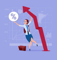 business woman hold red arrow up financial success vector image vector image