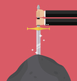 Businessman hand try to pull sword from stone vector image