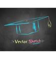 Chalk drawn mortarboard vector image vector image