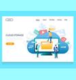 cloud storage website landing page design vector image vector image
