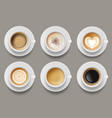 coffee mug top view cappuccino espresso latte vector image