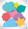 colorful clouds and stars on white background vector image vector image