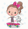 cute girl with a pink bow vector image vector image