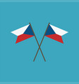 czech republic flag icon in flat design vector image vector image