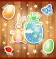 easter background with eggs bunny and paper vector image vector image