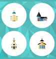 flat icon church set of building religious vector image vector image