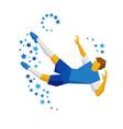 football player kicking the ball in jump vector image vector image