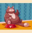 funny fat cat cartoon vector image vector image