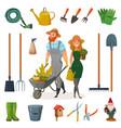 gardening cartoon icon set vector image vector image