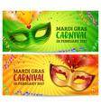 green and orange carnival masks mardi gras vector image vector image