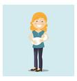 happy woman taking care his baby en blue vector image vector image