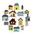 house icons set flat style vector image