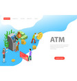 isometric flat landing page template atm vector image vector image