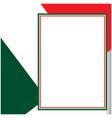 italian flag frame card vector image vector image
