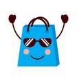 kawaii shopping bag cartoon happy smile vector image