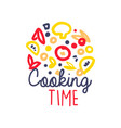 kids drawing of logo template for cooking food vector image