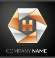 letter h logo symbol in the colorful hexagon on vector image vector image