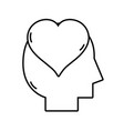 line silhouette man with heart love design inside vector image vector image