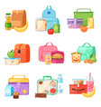 lunch box school lunchbox with healthy food vector image vector image