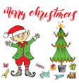 merry chistmas lettering hand drawn with elf vector image vector image