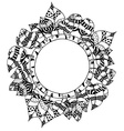 Monochrome Doodle leafs frame vector image vector image