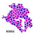 mosaic krasnodarskiy kray map of spheric dots vector image vector image