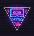 neon sign tape cassette in triangle with retro vector image