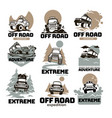 off road extreme expedition and adventure labels vector image vector image