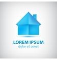 paper origami blue house icon vector image vector image