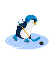 penguin in helmet playing hockey vector image vector image