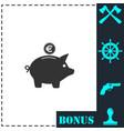 pig money box icon flat vector image vector image