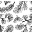 pine needles hand drawn seamless pattern vintage vector image vector image