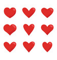 red hearts icon set love symbol vector image