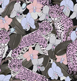 Seamless pattern of exotic flower orchid and vector image vector image