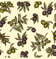 seamless pattern with different olive products and vector image