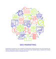seo marketing round poster with place for text vector image vector image